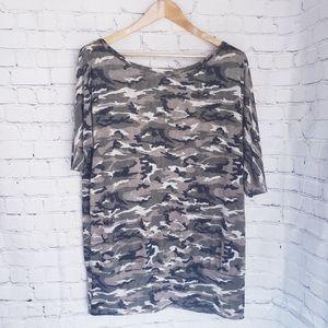 MXM Plus Size Camo Long Tunic Burnout Top T-Shirt